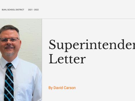 Superintendent Letter   August 13, 2021