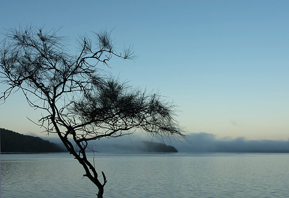 Blue dawn over the lake - photographic print