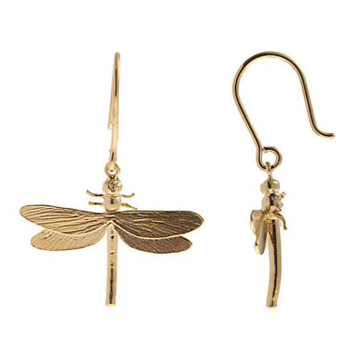 Gorgeous Little Dragonflies Hover As You Move 22ct Gold Plated Silver
