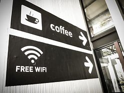coffee and free wifi sign in coffee shop