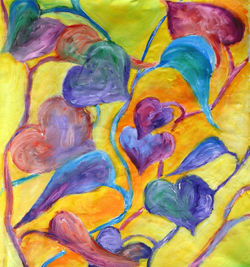 Colorful Acrylic Painting Hearts