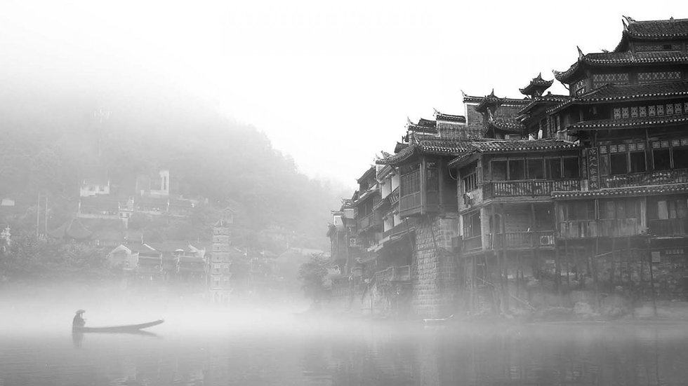 water black and white mountains china fo