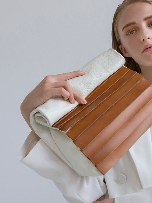 Hug, White And Taba Paneled Leather Lunch Bag