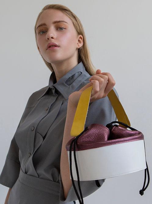 Hug,White And Shimmer Purple Drum Bag