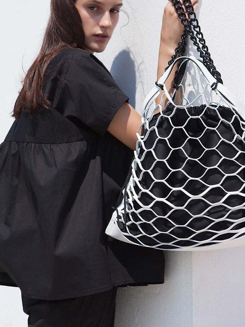 Hug, White Leather Net Shoulder Bag