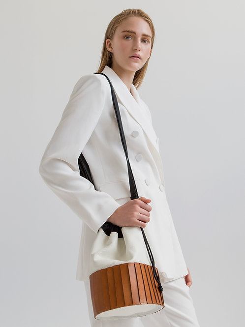 Hug, White And Taba Paneled Drawstring Bag