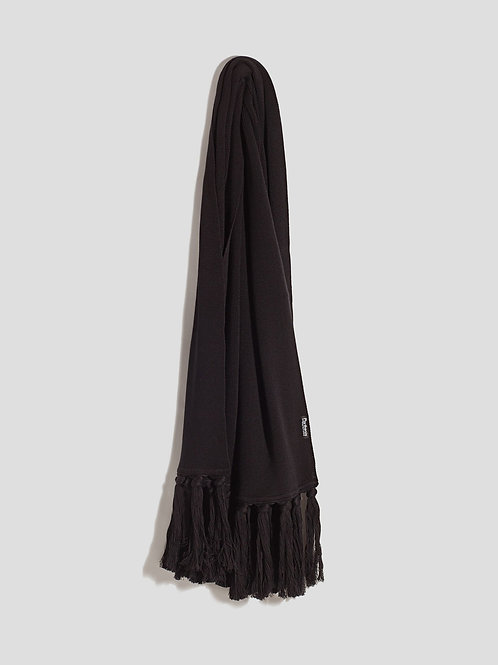 Parthenis Black Knitted Cotton Shawl