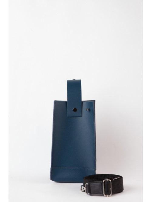 Hug, Blue Leather Bottle Tote Bag