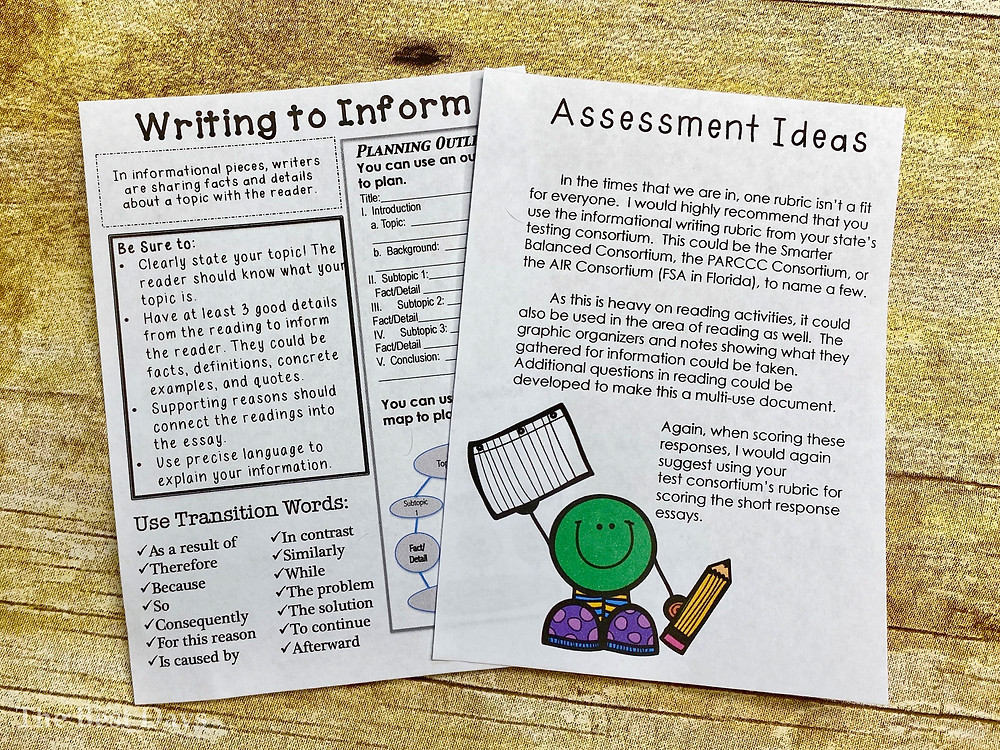 Teachers, are you looking for a great way to assess your students at the beginning of the school year?  Grade this freebie for 3rd grade, 4th grade, and 5th grade students.  Two reading passages are included!  Plus, get a free Writing to Inform page!