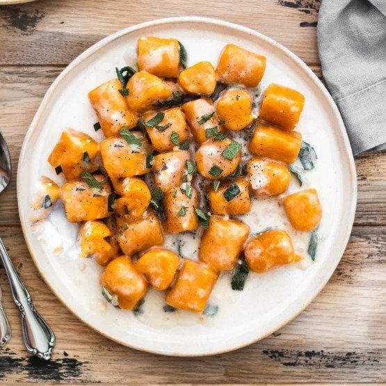 Sweet Potato Gnocchi in Cream Sauce