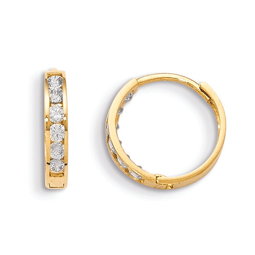 14k CZ Hinged Hoop Earrings