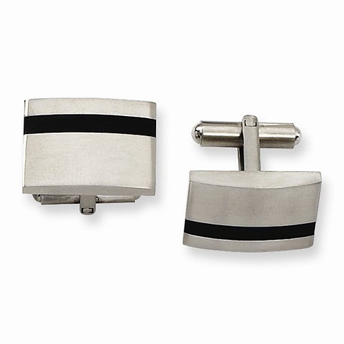 Stainless Steel Black Rubber Cuff Links