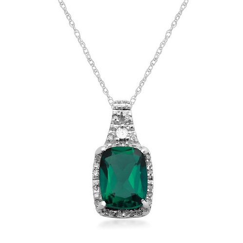 White Diamond & Created Emerald Pendant