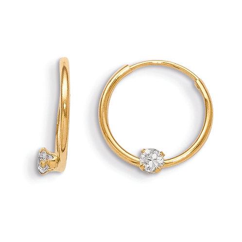 14k   CZ Hoop Earrings