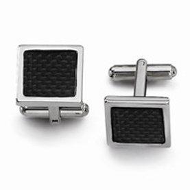Stainless Steel Black Carbon Fiber Cuff Links