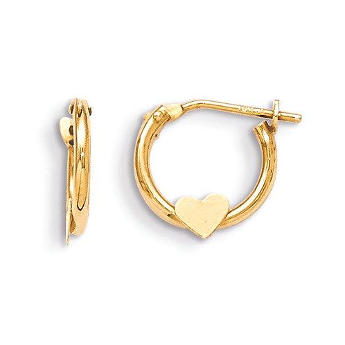 14k  Heart Hoop Earrings