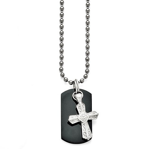 Titanium/Ster.Sil Black Ti Dog Tag Necklace