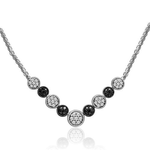 Black & White Diamond Sterling Silver Necklace