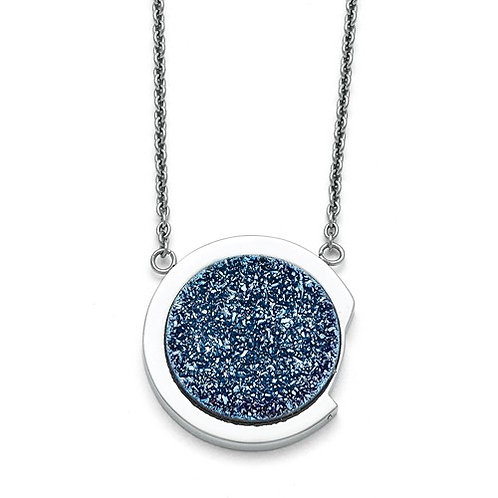 Stainless Steel Polished with Blue Druzy Stone Necklace