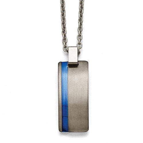 Titanium Grey Ti Brushed Blue Anodized Stripe Necklace