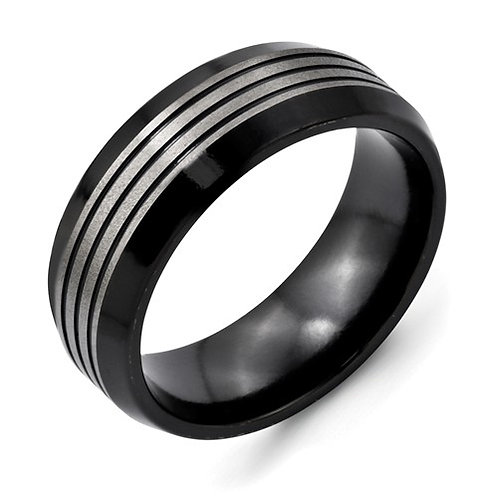 Titanium Black TI Brushed & Polished Beveled Edge Band
