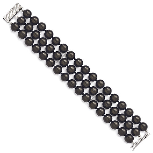 Sterling Silver 3 Row  Black Shell Bead  BBraclet