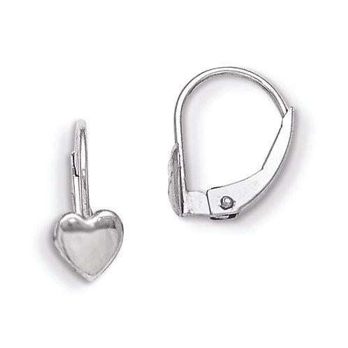 14k White Gold  Leverback Heart Earrings