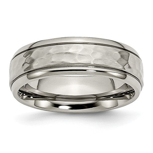 Titanium 7mm Grooved Edge Hammered and Polished Band
