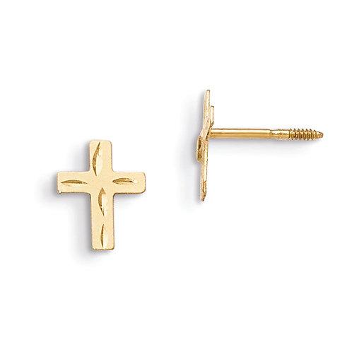 14k  Diamond Cut Cross Earrings
