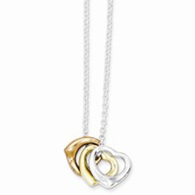 Three tone heart necklace