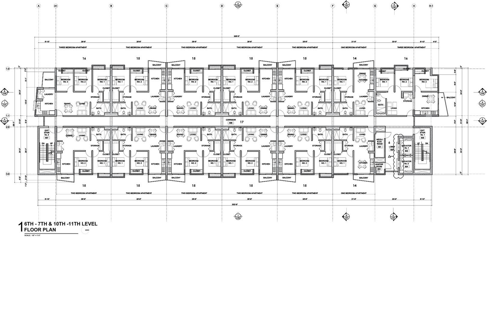 Sixth, seventh, tenth and eleventh levels floor plan