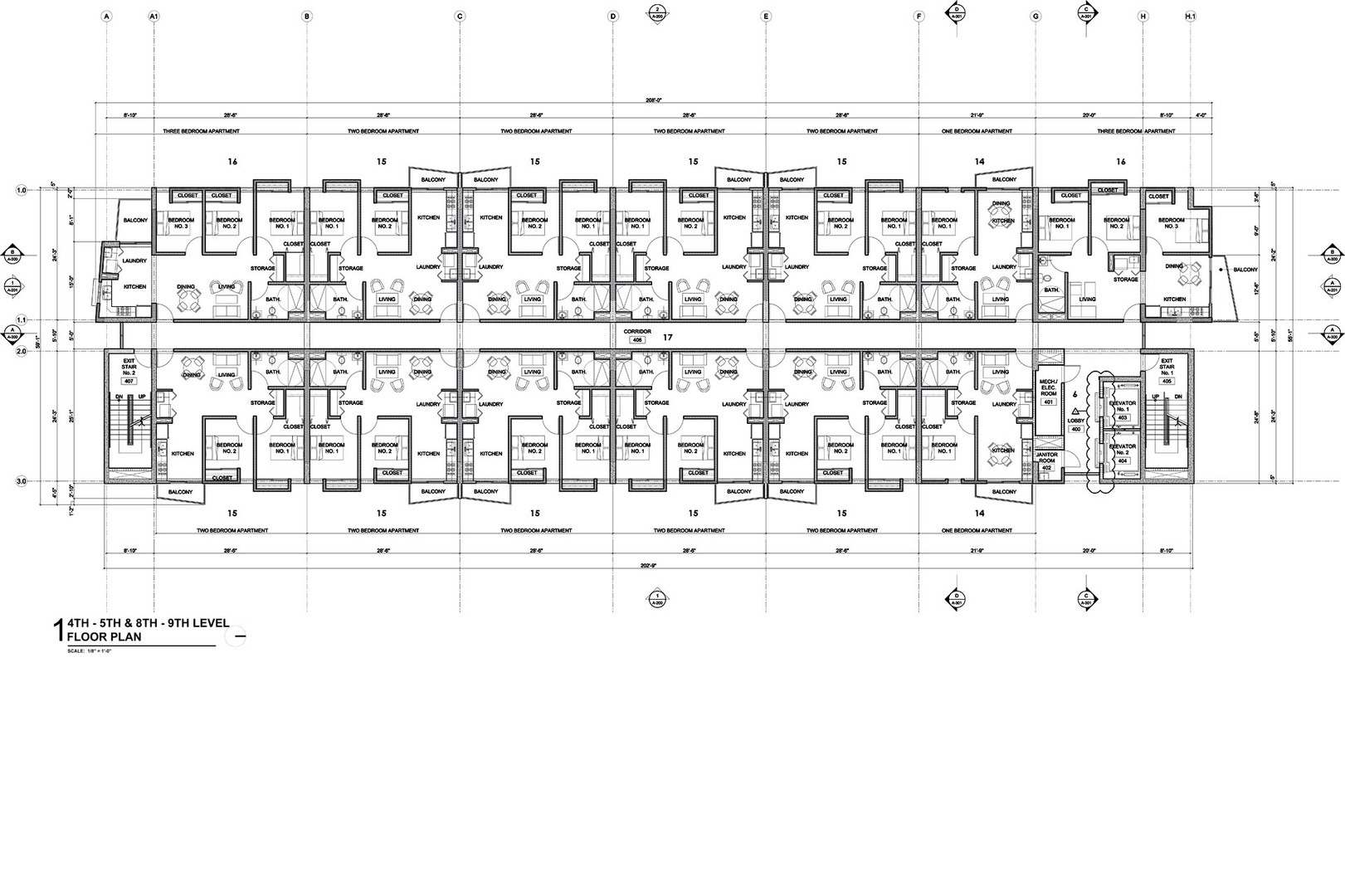Fourth, fifth, eighth and ninth levels floor plan