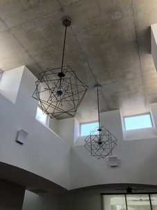 Exposed concrete finished ceiling