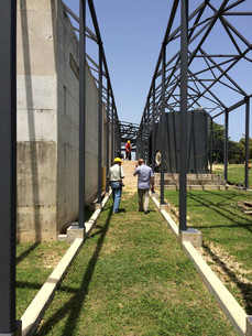 Arq. Ramírez and constructor doing a walkthrough of the site.
