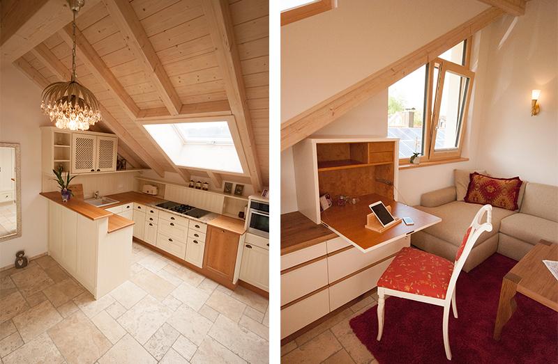 Schreibtisch und Küche