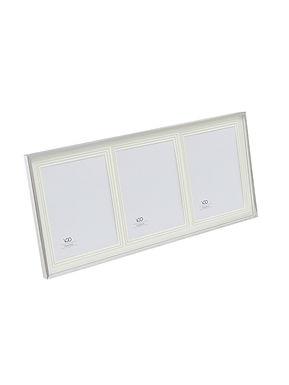Porta silver con paspartout 3 fotos 13x18 para apoyar y colgar. Tamaño total 23