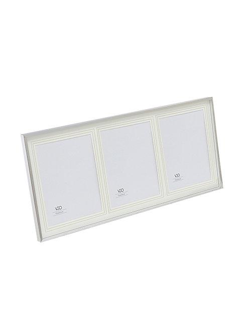 Porta silver con paspartout 3 fotos 15x20 para apoyar o colgar. Tamaño final 25
