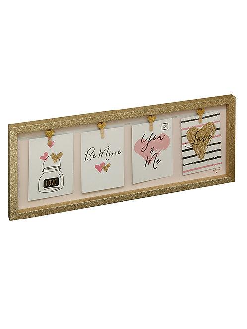 Marco con broches 50x20 cm con fondo rosa con corazones para 4 fotos de 10x15