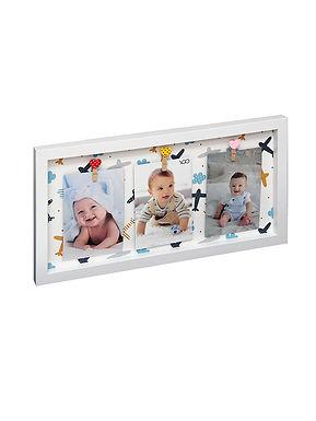 Marco con broches 22.5x42.5x2.5 cm con fondo decorado para 3 fotos de 10x15