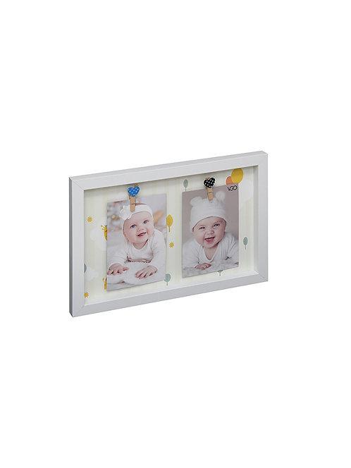 Marco con broches 17.5x32.5x2.5 cm con fondo decorado para 2 fotos de 10x15