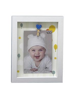 Marco con broches 17.5x22.5x2.5 cm con fondo decorado para 1 foto de 10x15