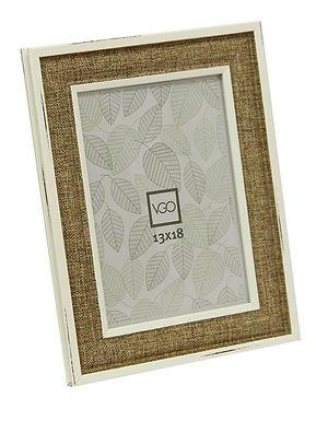 Portarretratos imitación madera y tela 20 x 30