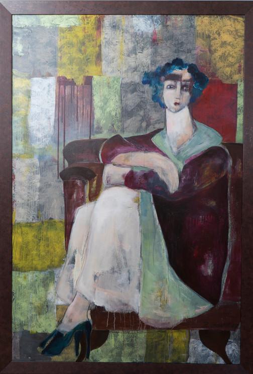 """""""Frau im Ledersessel"""", Acryl auf Leinwand, 110 x 160 cm inkl."""