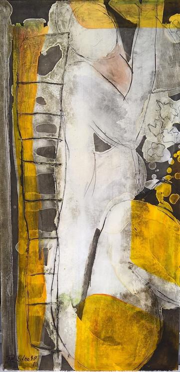 Frau sitzend, Mischtechnik auf Leinwand, 40 x 80 cm