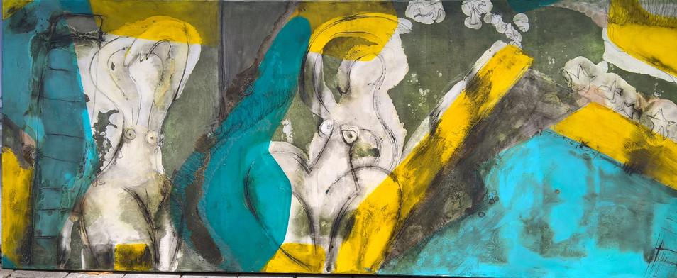 Frauen, Mischtechnik auf Leinwand, 80 x 200 cm