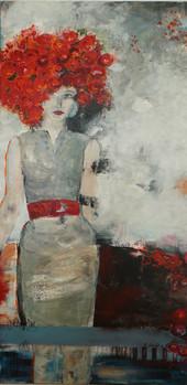 """Frau mit Rosenhaaren"", Acryl auf Leinwand, 80 x 160 cm"