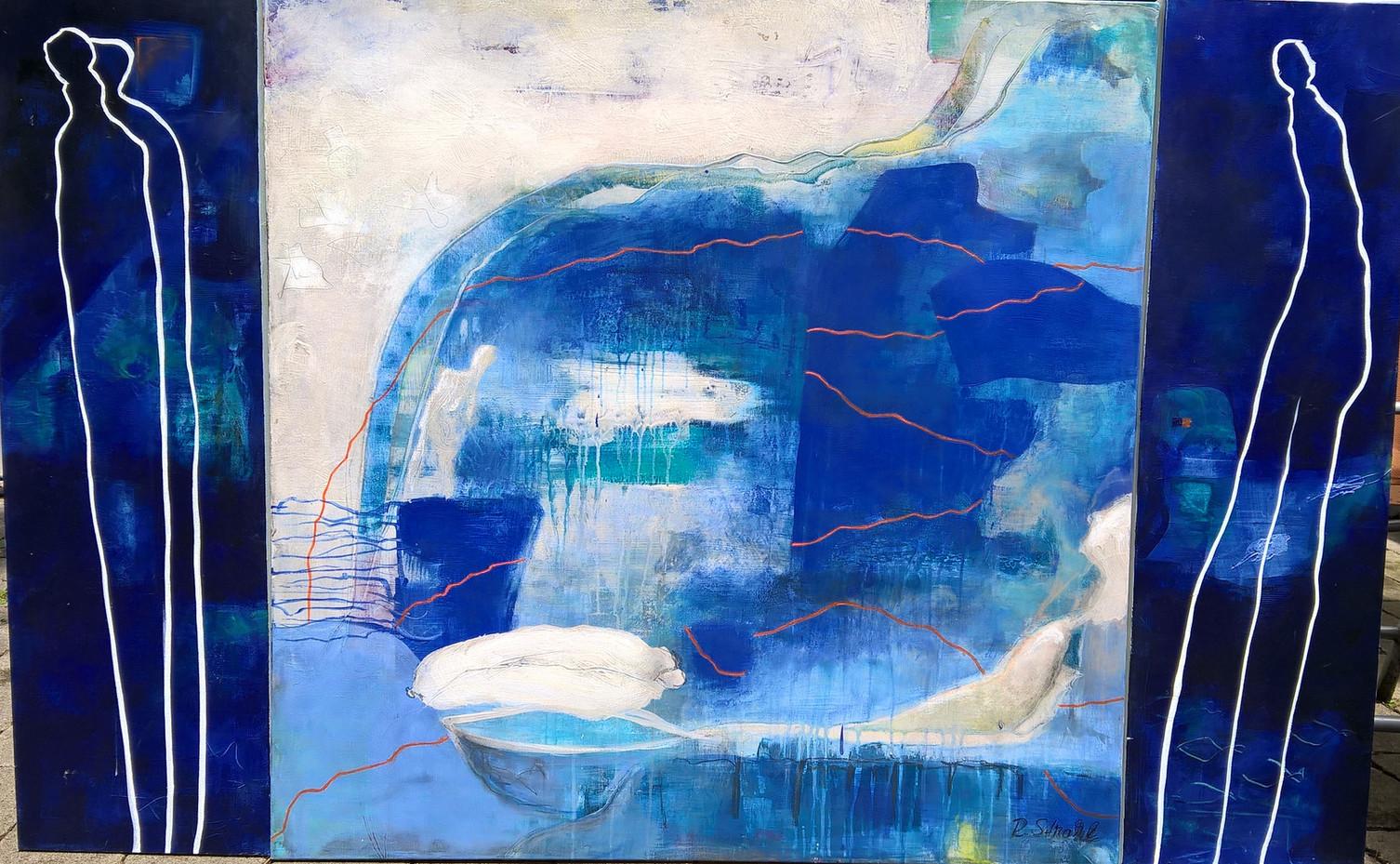 """""""Das Alte und das Neue"""", Triptychon blau, Acryl auf Leinwand,100 x 160 cm"""