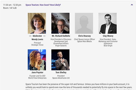 Wendy Lewis moderates the space tourism panel at Satellite 2020.ce toursimLe