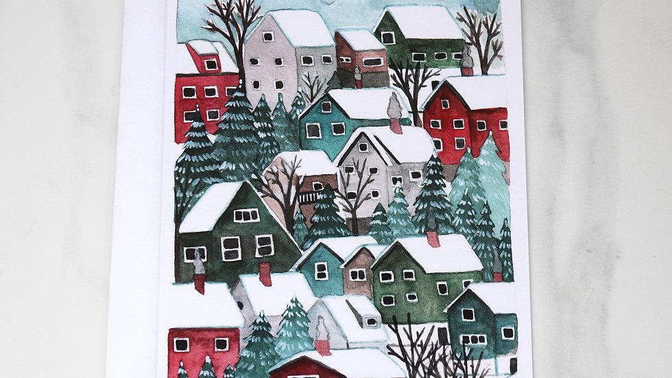 Houses Happy Holidays Card