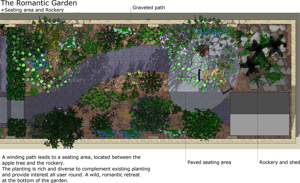 Romantic garden plan.